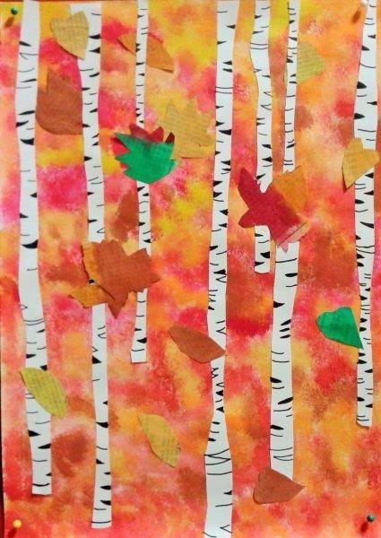 Birken Technik: Collage mit selbstgefärbtem Papier und mit Zeitungspapier