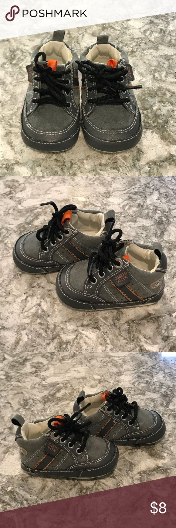 Baby boy shoes Gray and orange baby boy high top shoes.  Size newborn.  Shoe lace closure, worn a few times Joseph Allen Shoes Baby & Walker