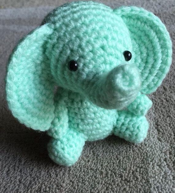 Mint Green Elephant Amigurumi Elephant Crochet by CrochetedByRikki