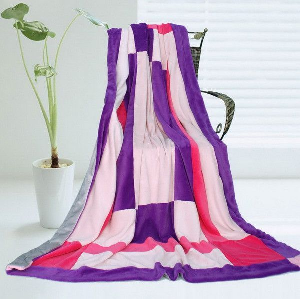 Onitiva - [Purple Charm] Soft Coral Fleece Patchwork Throw Blanket (59 by 78.7 inches)