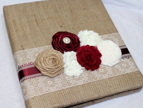BURLAP GUEST Book Photo Spot  Burgundy Wedding Rustic by itsmyday