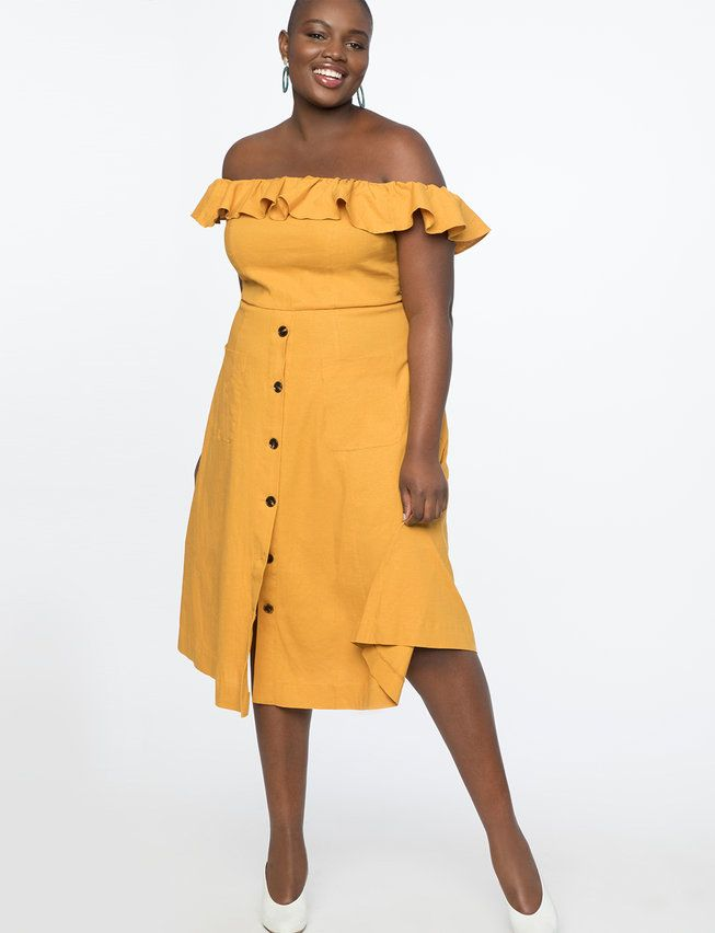 Off the Shoulder Ruffle Dress | Women's Plus Size Dresses