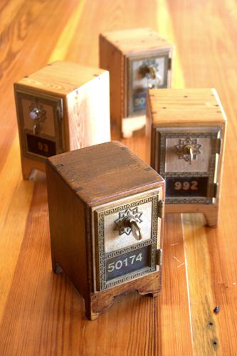5 Handcrafted Gifts Under $100 at Old House Depot -- Small custom wooden boxes with old brass post office doors, handcrafted from antique pine and cypress. $65   Approx. 4 x 5 x 7 (other designs available