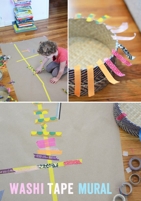 Make a washi tape mural easy art projects for kids for Washi tape project ideas