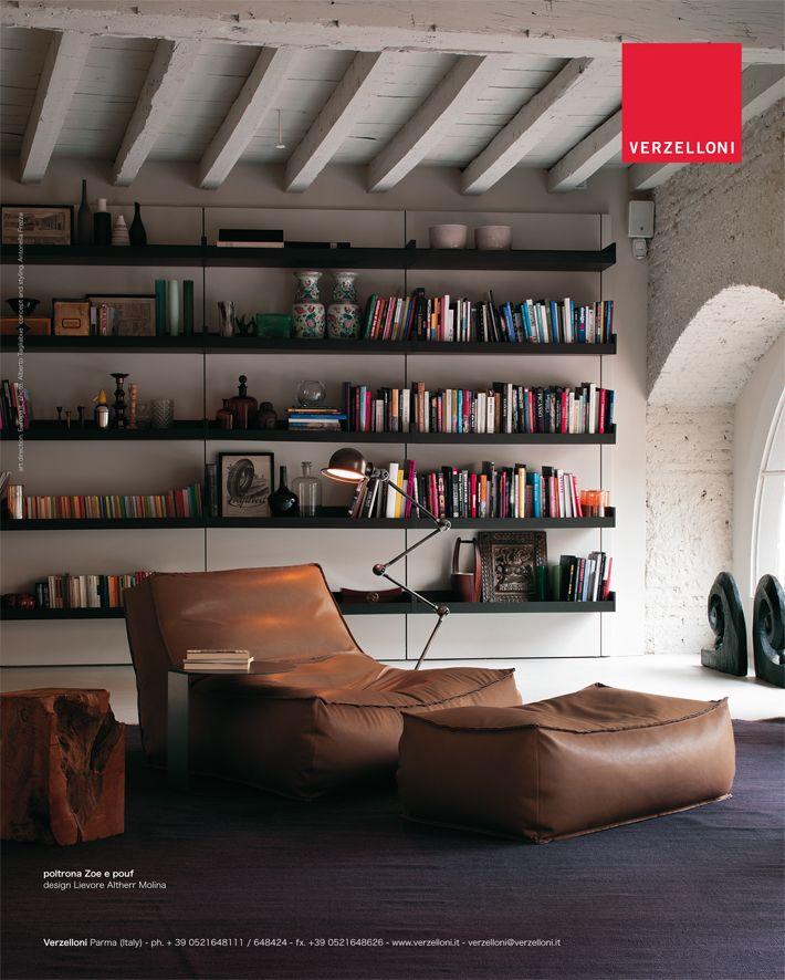 Zoe leather and pouf. Verzelloni on Elle Decor Italia, Elle Decoration, Elle Wonen.