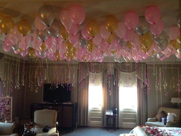 Room filled with balloons bachelorette party pink and for Hotel room decor for birthday