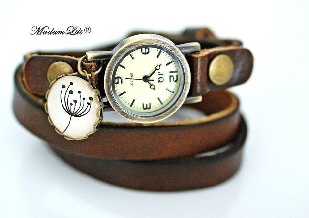 Armbänder - Wickeluhr Pusteblume Echtleder - ein Designerstück von madamlili bei DaWanda