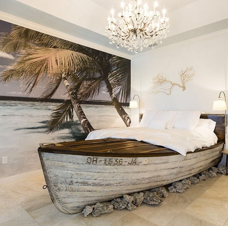 Eclectic Guest Bedroom with Mural, DIY Boat Bed, High ceiling, limestone tile floors, Chandelier, Crown molding