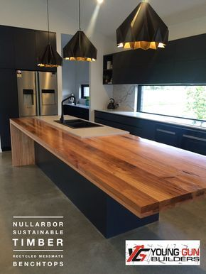 Recycled timber benchtops, Laminated timber bench tops
