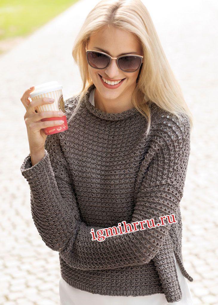 Серо-коричневый теплый пуловер с воротником-стойкой. Вязание спицами