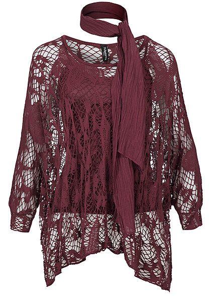 Fall autumn Herbst    Madonna Damen Shirt ANTKE 74-1599 Lochmuster mit Top und Schal bordeaux rot Madonna Mode Tops | 77onlineshop im Online Shop preiswert kaufen
