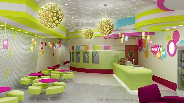 Restaurant Interior Design and Branding - FroYo Fiesta Frozen Yogurt Shop Interior Design and Branding