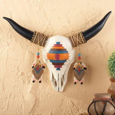 Hand Painted Southwestern Skull Wall Art
