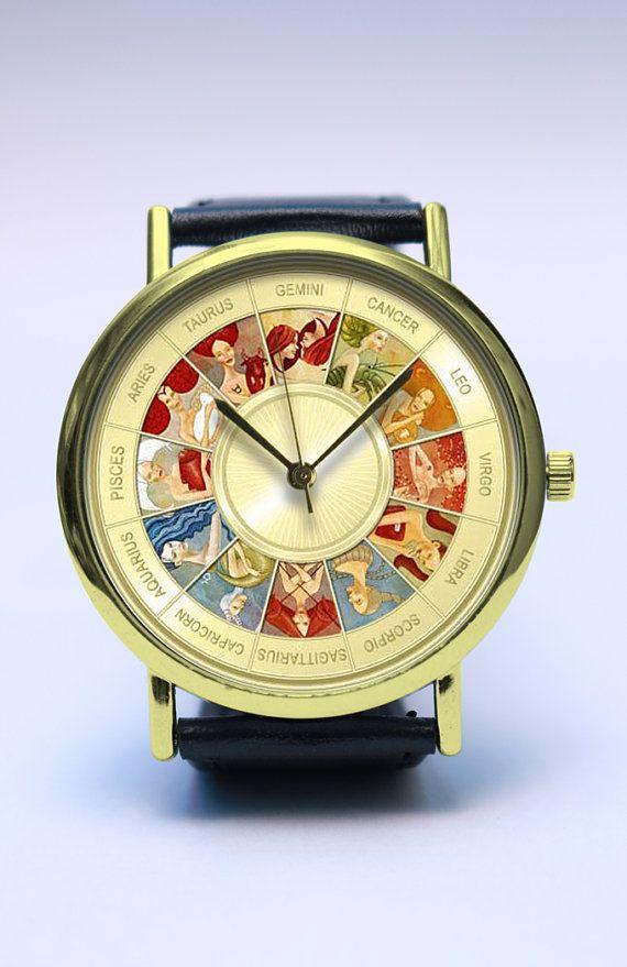 Zodiac Signs Handmade Watch, Birth Sign, Vintage Style Leather Watch, Boyfriend Watch, Unisex Watch, Handmade Jewelry, Leather Watch Jewelry