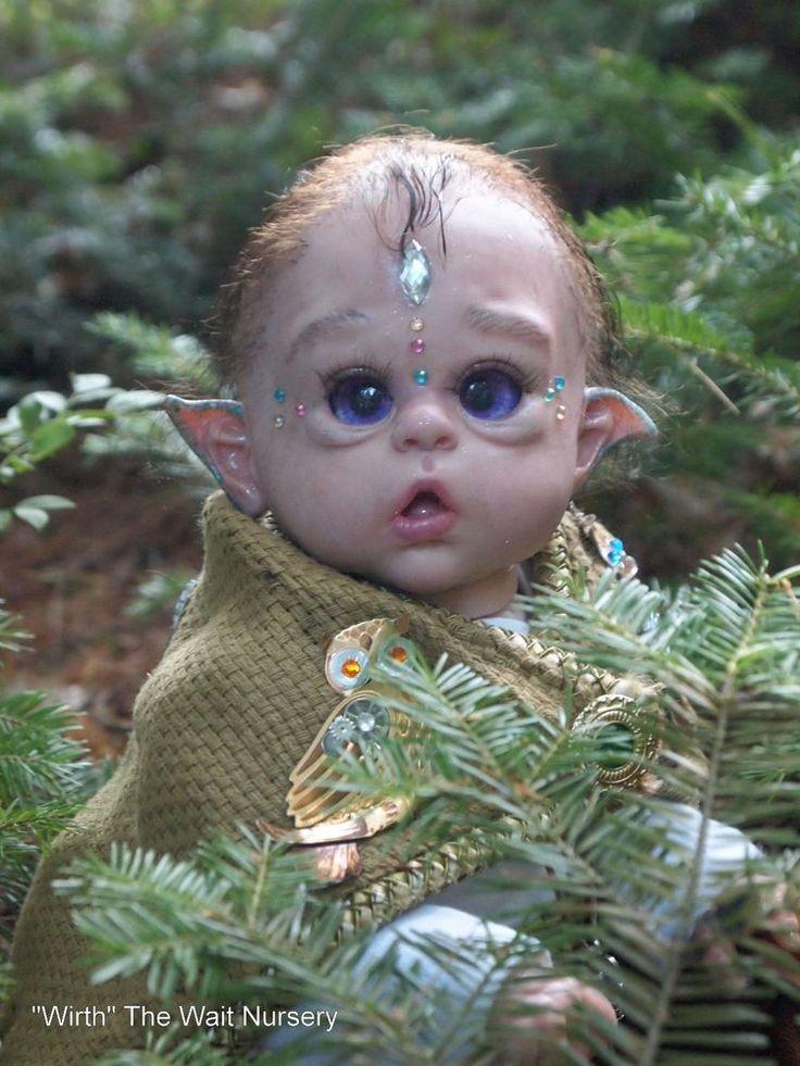 Cute reborn baby Elfin kit was Ofelia by Olga Auer belly posing plate many extra