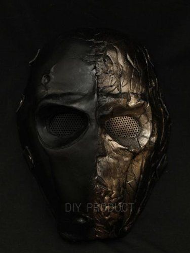 Army of Two Airsoft Mask and Prop Mask  Gold Half Breeds by Airsoft mask. $129.00. ABOUT THE MASK The design for this mask is made by conveniently integrating art and fighting sports to find a perfect answer for your fighting style in every battleground. Most importantly, it can protect your face and eyes from tiny BB gun plastic bullets. It is also resistant to the impact of hockey ball. Four layers of fiberglass resin reinforced by another two layers of speci...