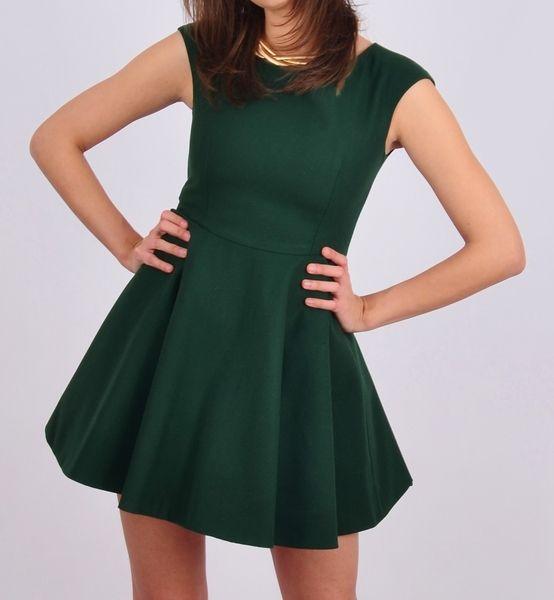 Wełniana sukienka butelkowa zieleń w NAT Fashion Room na DaWanda.com