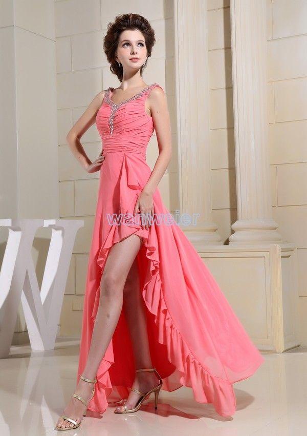 Бесплатная доставка партии 2016 вечернее платье макси платье с длинным новый дизайн невест горничной платье ярко-розовый sexy шифон пром платья