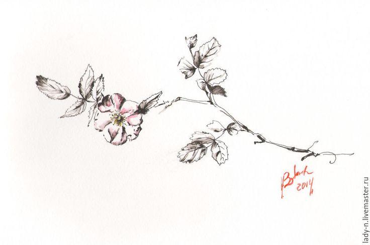 """Купить """"Шиповник"""", рисунок, графика - черно-белый, красный, шиповник, цветок, дикая роза, рисунок"""