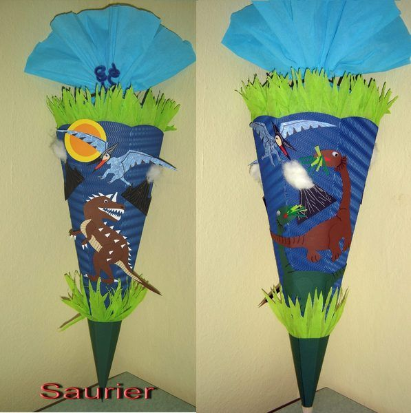Schultüte Zuckertüte Saurier Dino mit Rückseite von bastel-reni auf DaWanda.com