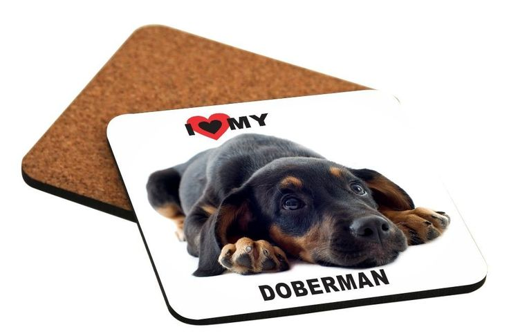 Rikki Knight I Love My Doberman Pinscher Dog Design Cork Backed Hard Square Beer Coasters, 4-Inch, Brown, 2-Pack * Additional details at the pin image, click it  : Coasters Home Decor
