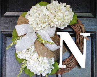 BEST SELLER Ortensia bianca Grapevine corona con di WreathDreams