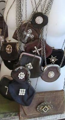 Small change purse embellished with old brooches or broken jewelry and strung on a tarnished chain.  All of my nieces and great nieces would love one. Great gift for the upcoming holiday.