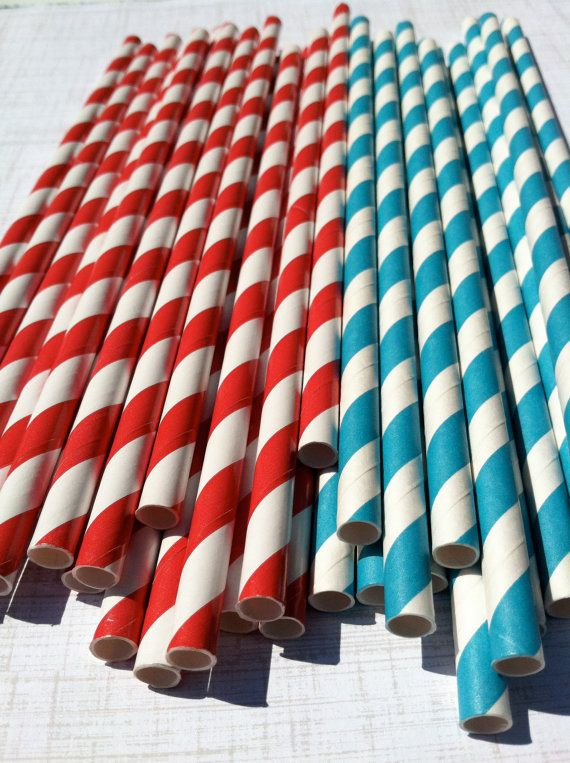 I'm so getting these for Sam's Seuss Party! 30 Paper Straws Red and and Blue Striped Paper by shoppe3130, $4.75