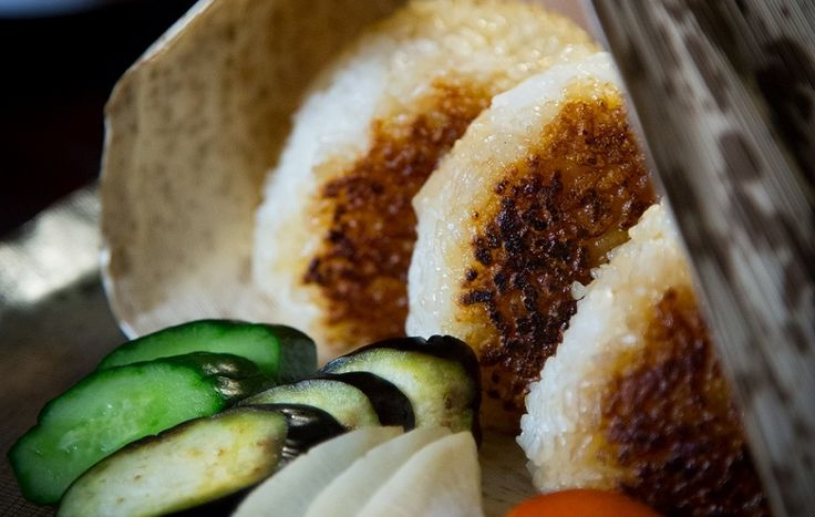 Miso soup and charcoal-grilled rice balls