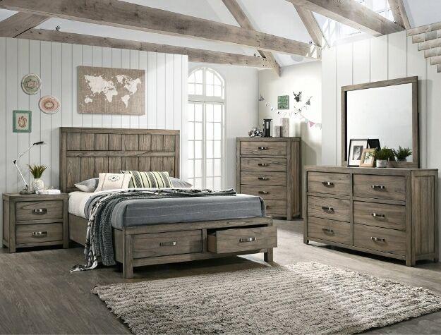 B5600 4 Pc Arcadia Rustic Weathered Gray Finish Wood Queen Storage Bedroom Set Bedroom Sets Queen Bedroom Set Rustic Bedroom Furniture