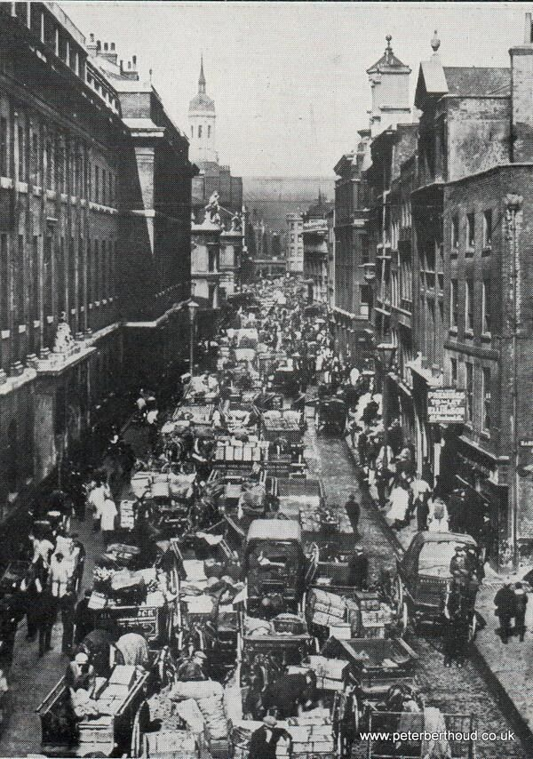 Billingsgate fish market 1890's Scores of fresh fish shops & door to door venders all competing loudly very loudly..!           London