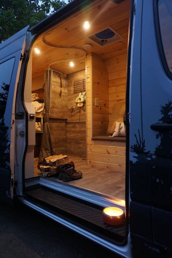 Vw Camper Van >> Shower stall has place for kitchen to wheel in (With ...