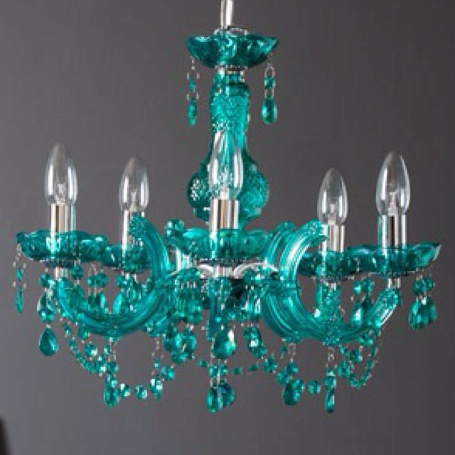 Teal chandelier for Paris themed kitchen