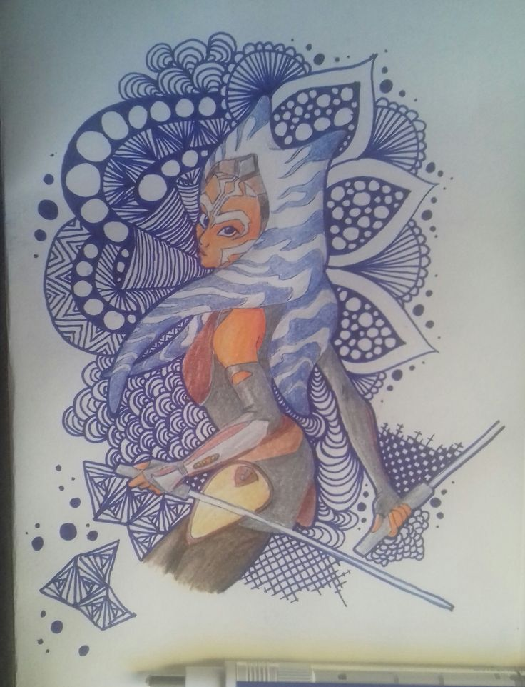 I'm back, everyone! So my old notebook was filled up and i didn't want to upload the messy sketches from my math notebook, thus i had to wait until i could get my hands on a new blank one. Also, controversial opinion: i love Ahsoka's look in Rebels. So here she is, on A/5 paper, done with sharpie, blue pen and colored pencils. Photographed with my phone.