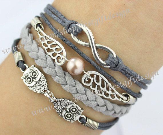 7b57c3f364c4 Infinity,Wings,& Owls Charm Bracelet in Silver- Harry Potter ...