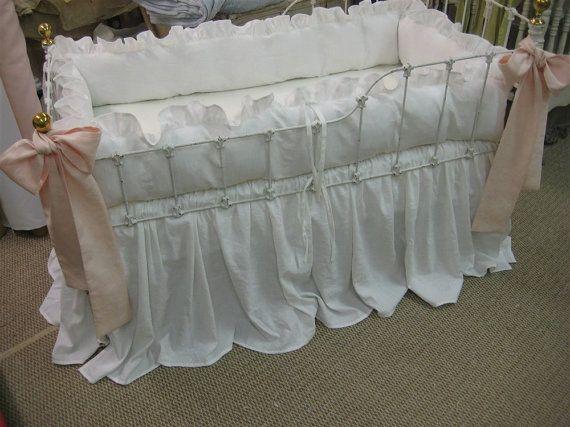 Bright White Washed Linen Crib Bedding-Ruffled di cottageandcabin