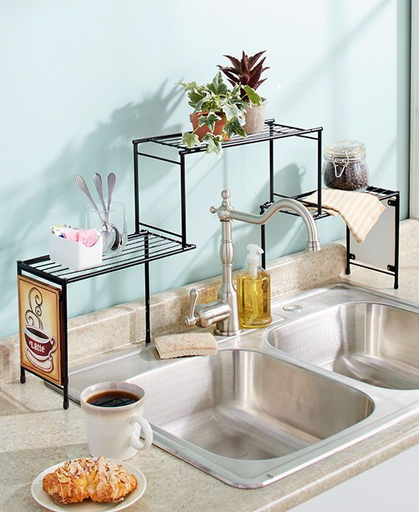 charming Decor Kitchen #3: Over The Sink Rack Coffee Kitchen Decor Shelf Space Saver Fit Tall Faucet
