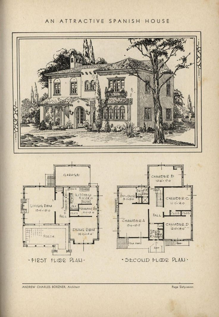 Spanish House by Architect Andrew Charles Borzner.    The book of beautiful homes. by Andrew C. Borzner Published 1932    BookReaderImages.php (1213×1755)