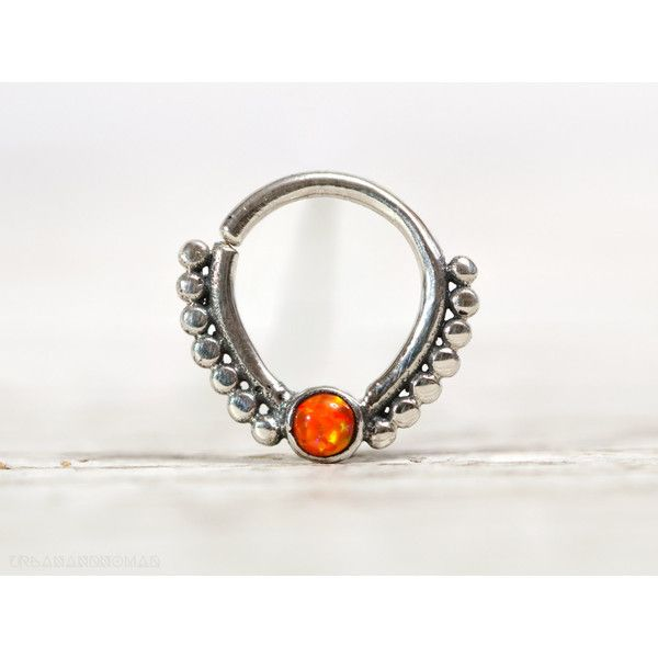 Septum ring Piercing Nose Ring Body Jewelry Fire Orange Opal Sterling... ($27) ❤ liked on Polyvore featuring jewelry, bohemian style jewelry, boho jewellery, sterling silver opal jewelry, orange jewelry and body jewellery