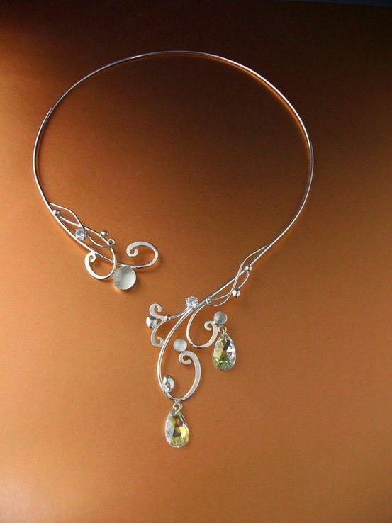 Moonlight Torc Necklace Sterling Celtic Magic Fairy Elven Renaissance Medieval Wedding Bridal. $199.99
