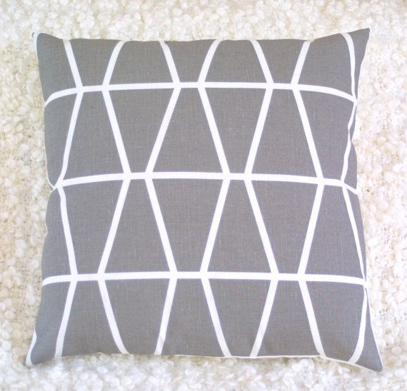Grey Fasett by Spira geometric cushion cover by LouiseBrainwood, £18.90