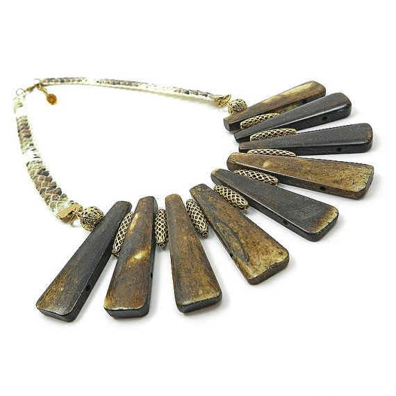 Tribal Spike Necklace Brown Bone necklace by osofreejewellery
