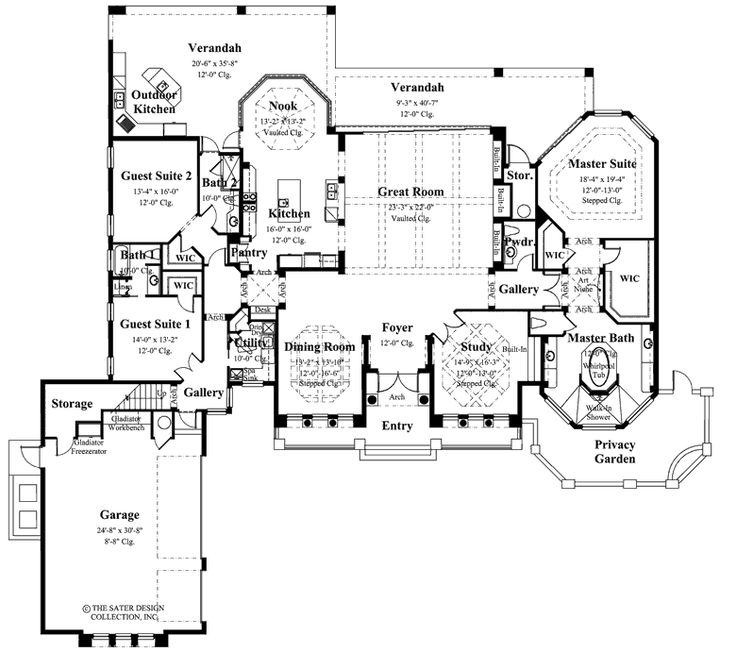 "Main Floor Plan. The Sater Design Collection's luxury, European home plan ""Porto Velho"" (Plan #6950). saterdesign.com"