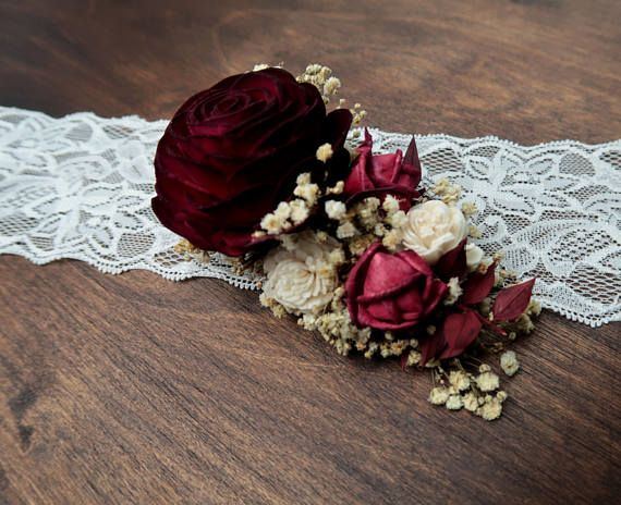 Hair Clip With Burgundy Red Rose Preserved Gypsophila Alternative