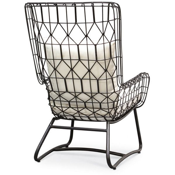 Chloe Modern Classic Salt Black Steel Outdoor Wing Chair ($1,376) ❤ Liked  On Polyvore