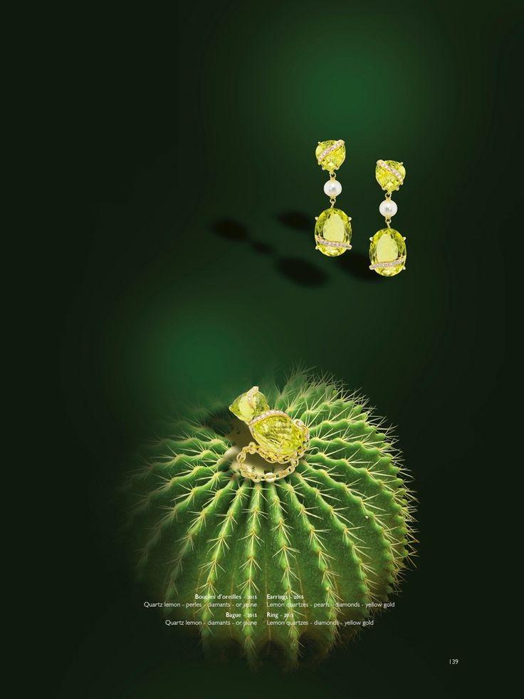 Erik Schaix, bijoux d'un couturier, boucles d'oreilles et bague en or jaune avec des Quartz lemon et des perles de rivière.