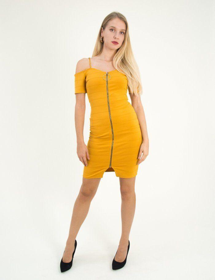 f1c47c2f7ea8 Γυναικείο ώχρα έξωμο κολλητό φόρεμα χρυσό φερμουάρ 2894  τορούχο  torouxo   foremata  φορέματα