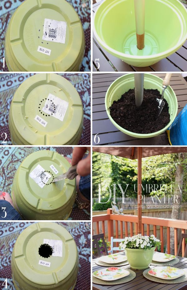 """Umbrella table planter - """"You may want to measure how much space there is between the umbrella when it's down and your table. My umbrella clears my planter (with flowers) by about three inches."""""""
