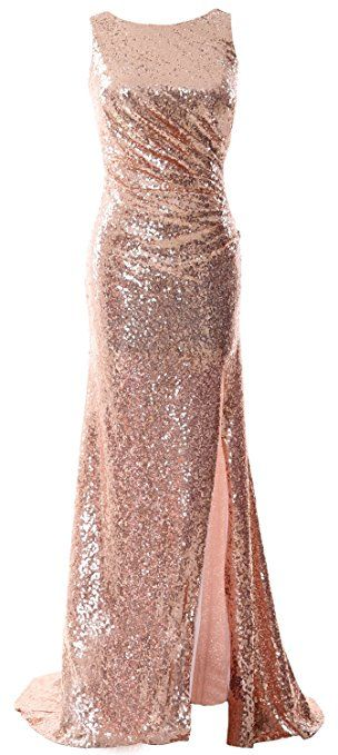 MACloth Gorgeous Mermaid Prom Dress Sequin Long Illusion Formal Party Evening Gown (EU46, Light Gold)