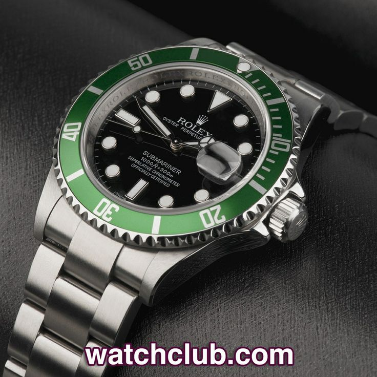 Rolex Submariner Date Green Bezel - 'Rolex Warranty' REF: 16610LV | Year 2008  Under Rolex service guarantee until February 2016! Fast becoming one of Rolex's most bankable investments, this green bezel 50th Anniversary Submariner Date is in superb condition. Recently serviced by Rolex UK, the ref.16610LV features a luminous maxi dial and hands and is waterproof to 300m. Fitted to a tough Oyster bracelet with Fliplock clasp - for sale at Watch Club, 28 Old Bond Street, Mayfair, London